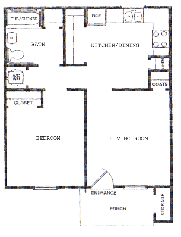 One Bedroom / One Bath - 572 Sq. Ft.*