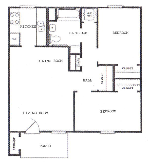Two Bedroom / Two Bath - 780 Sq. Ft.*
